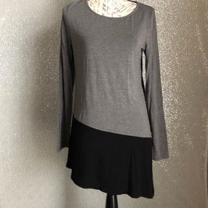 Neiman Marcus Jersey Long Sleeve Grey/Black Blouse